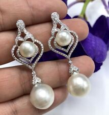 CHANDELIER! South Sea Pearls Diamond 18K solid white gold dangling earrings