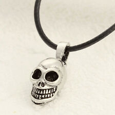 Men 's Amulet Silver Black Stainless Steel Skull Pendant Chain Necklace CA1ZO