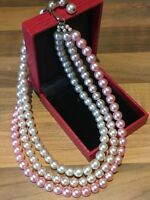 Vintage Faux PEARL Triple Strand NECKLACE Choker