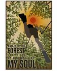 Retro, Retro And Into The Forest Hiking Vintage Art Wall Decor Poster Unframed