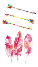 Waterproof Temporary Fake Tattoo Stickers Cute Pink Feather Multi Color Arrow