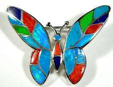 Multicolor Stones & Blue Fire Opal Inlay 925 Sterling Silver Butterfly Brooch