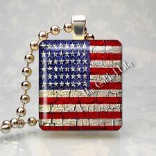 New listing United States Flag America Usa Patriotic Scrabble Tile Art Pendant Jewelry Charm