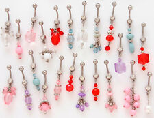B#202 - 12pc Crystal Bead Mix Dangle Belly Rings Navel