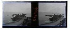 Petit Port à identifier Stéréo 45x107mm Plaque de verre négative 1908