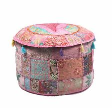 """22"""" Round Pouf Floor Pillow Cushion Round Patchwork Ottoman Cover"""