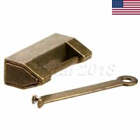 US STOCK Antique Brass Padlock Jewelry Box Chest Cabinet Old Style Lock With Key