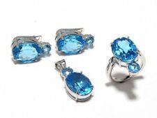 925 Sterling Silver Faceted Blue Topaz Gem Stones 4 Piece Sets Jewelery