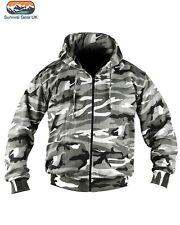 Urban Hoodie Full Zip Camo Fashion Fleece Military / Urban Biker Warm Jacket