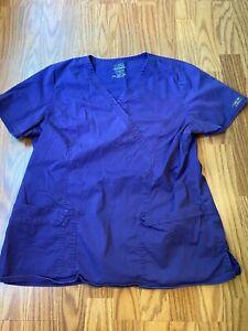 Womens CHEROKEE purple scrub top sz XL