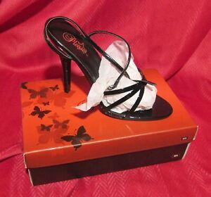 Pleaser Black Patent Sz 13 Shegirl Stiletto Bow Knot Sandal Crossdresser Shoe