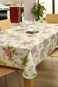 Tischdecke Baumwolle mit Acrylatversiegelung Rose Weiß in versch. Größen
