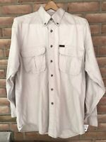 Woolrich Rugged Outdoor Wear Men's Shirt Size Large Khaki Long Sleeve Button