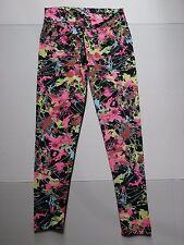Dona Jo Fitwear JoJo Leggings SZ 2 Women 10 12 14 Paint Splatter Neon Pink Lime