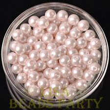 New 30pcs 8mm Round Glass Pearl Loose Spacer Beads Jewelry Making Baby Pink