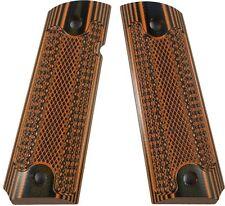 Custom 1911 Grips G10 Magwell Ambi Bobtail Colt Classic Checkered  - Orng-Black