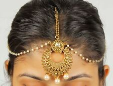 Indian Hair & ForeHead Matha Patti Gold Headpiece CZ Chain Jewelry