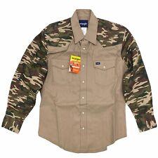 Wrangler Men's Cowboy Cut Authentic Western Shirt Pearl Snap Button Brown Camo