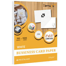 1000 Blank Inkjet Laser Printable Business Card Paper 2x3.5 Printer Paper 100 Sh