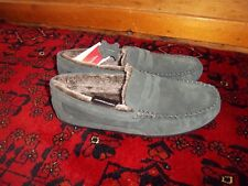 Marks & Spencers M&S men's light blue suede moccasin slippers shoes fur lined 9