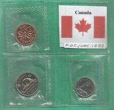 CANADA 3 COINS SET 1973 3 VARI TAGLI MONETE FDC SIGILLATE UNC + BANDIERA