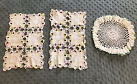 """3 Vintage White Hand Crocheted Doilies Two 11x7"""" & One 9"""" Diameter"""