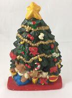 "Cast Iron Christmas Tree Door Stop Teddy Bear Toys Vintage 7.5"" Tall"