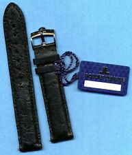 GENUINE OMEGA STEEL BUCKLE TANG and GENUINE BLACK OSTRICH STRAP BAND 18mm