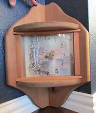 Vintage Handmade Solid Wood Corner Mount Analog Wall Clock Cabin Decor