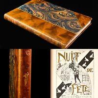 🌓 Félicien CHAMPSAUR Nuit de fête 1902 belle reliure Art Nouveau signée FLEURY