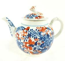 18TH CENTURY WORCESTER PORCELAIN TEAPOT THREE FLOWER PATTERN CLOBBERED