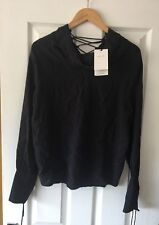 ZARA BLACK JACQUARD STAR LACE UP TOP XS EXTRA SMALL NEW