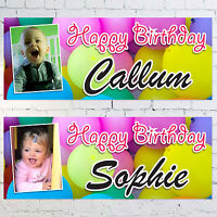 Personalised Large 3ft Birthday Banners PHOTO NAME, Childs Party 1st 2nd 3rd