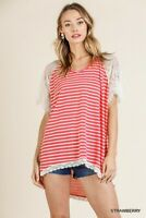 Umgee Red Striped Lace Sleeve High Low Hem Top Size Small Medium