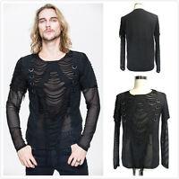 Devil Fashion Men's Gothic Punk Steampunk Black Hole Mesh ShirtTop TT058