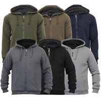 Mens Jacket Brave Soul Sweat Coat Hoodie Top Sherpa Fleece Zip Casual Winter New