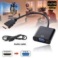HDMI to VGA converter adapter + 3.5 mm audio jack full HD 1080P black