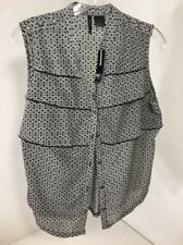 Womens New Direction Blouse Sleeveless Button Front Black-Ivory Splash PL NWT