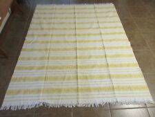 ANTIQUE WOOL & SILK HANDWOVEN BED COVERLET OR TABLECLOTH YELLOW /WHITE *RARE*