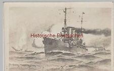 (76529) AK 1. WK, Kl. Kreuzer Straßburg vernichtet engl. U Boot 1914-18
