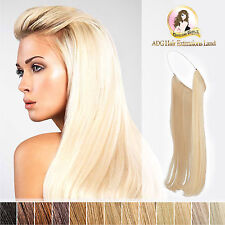 "24"" European Remy Halo Hair Extensions Double Drawn 110g Brown blonde black"