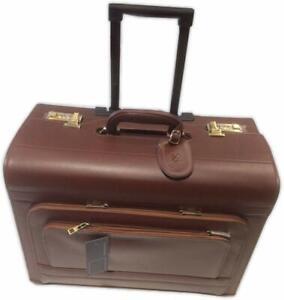 Real Cowhide Leather Pilot case on Wheels & Trolley Cognac Colour  Quindici Bran