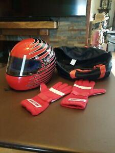 Vintage Bieffe Helmet Snell Marlboro Racing School  Simpson Gloves Cart Indycar