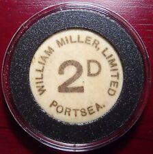 Rare William Miller Ltd, Portsea 2 Pence Token Made of Bone!