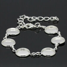 10 Bracelets Charm Support Cabochon Rond Fermoir Mousqueton Argenté 25cm B28327