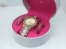 Isaac Mizrahi Live Women Watch Gold/White Tone Crystal Accent with 2 Extra Bezel