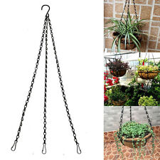 3X Black iron Hanging 50cm Chain +Hook Plant/Pot/Flower Basket Holder Courtyard