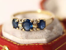 18ct yellow gold sapphire diamond ring 2.20 grams size L - L1/2
