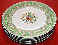 "Wedgwood Florentine Green 9"" Lunch Plates w Fruit & Urn Center - Set of 6"