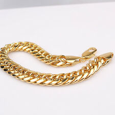 "9"" 18k Yellow Gold GF 11mm Mens Bracelet Double Solid Curb Chain Jewerly"